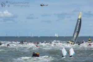 Spectators chasing Team Brunel